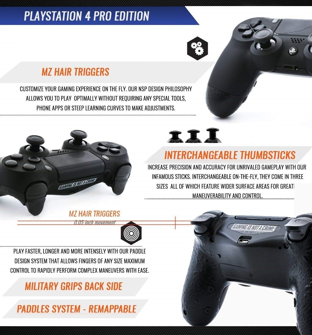 """PRO EDITION"" PS4 CUSTOM MODDED CONTROLLER new remapping buttons design"