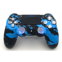 Blue Splatter Playstation 4 V2 (new version) Custom Modded Controller
